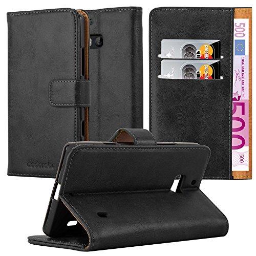 Cadorabo custodia libro per nokia lumia 929/930 in nero grafite - con vani di carte, funzione stand e chiusura magnetica - portafoglio cover case wallet book etui protezione