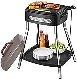 Unold 58580 Barbecue Power Grill, Elektrogrill, 2000 W, Große antihaftbeschichtete Grillplatte, Stabiler Tisch mit Ablagefläche, komplett zerlegbar, Schwarz, Grau, Edelstahl -