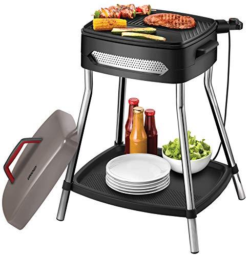 Unold 58580 Barbecue Power Grill, Elektrogrill, 2000 W, Große antihaftbeschichtete Grillplatte, Stabiler Tisch mit Ablagefläche, komplett zerlegbar, Schwarz, Grau, Edelstahl