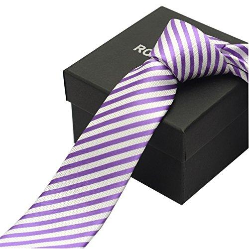 23f351913a6dc HXCMAN 6cm Viola a righe slim skinny cravatta design classico lusso  business matrimonio feste sposo in