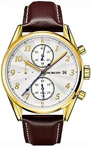 ساعة يد للرجال من اوشستن ، كرونوجراف ، جلد ، بني ، GQ038-BR