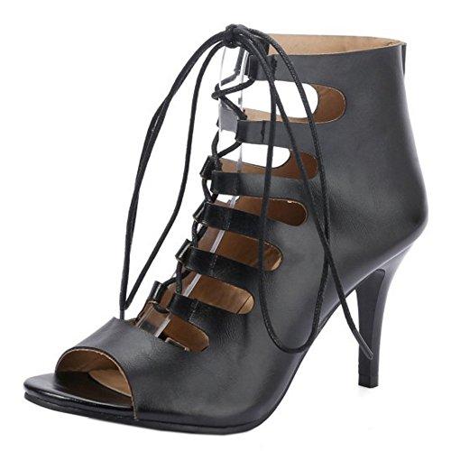 COOLCEPT Femmes Mode Peep Toe Talons hauts Sandales Stylish Enveloppement de cheville Talon Aiguille Chaussures Noir