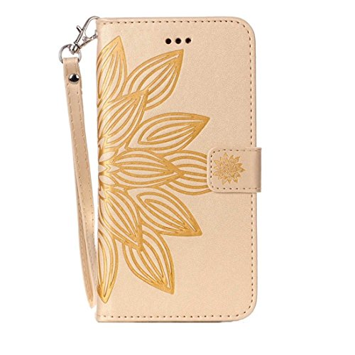 Phone case & Hülle Für iPhone 6 Plus / 6s Plus, Crazy Horse Texture Half Flower Printing Horizontale Flip Leder Tasche mit Halter & Card Slots & Wallet & Lanyard ( Color : Brown ) Gold