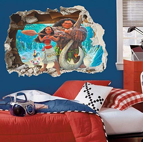3D Effekt Moana Durch Wandaufkleber Für Kinderzimmer CartoonWandtattoos Pvc Moana Maui Poster Diy Wand Paper50X70Cm