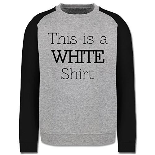 Statement Shirts - This is a white Shirt - Herren Baseball Pullover Grau Meliert/Schwarz