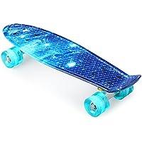 Enkeeo - Skateboard Planche à Roulettes Retro Cruiser 22 Pouces, 4 Roues Translucides PU, Table en Plastique Renforcé, Roulement ABEC-7, Pour Les Enfants, Jeunes et Adultes