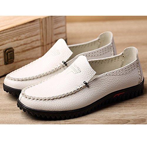 Hommes Mocassins PU Cuir Souple Respirent Derby Business Plat Léger Chaussures Blanc