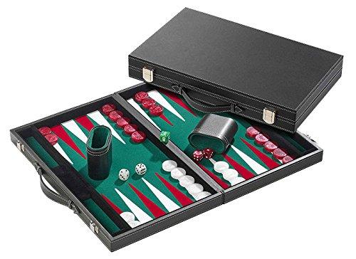Philos 1722 - Backgammon Filzinlet grün-weiß-rot, groß, Koffer Kunstleder