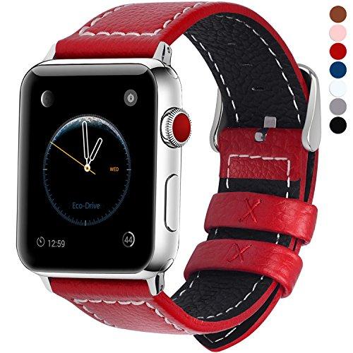 Fullmosa kompatibel Apple Watch Armband in 7 Farben, Uhrenarmband 38/42mm Grobe Litschi Lederarmband für iwatch Series 3/2/1,Rot 42mm -