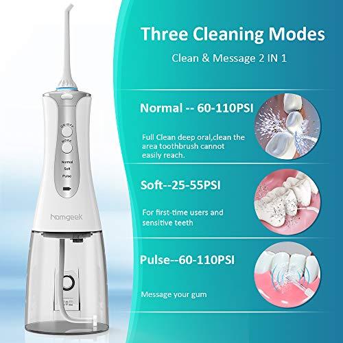 homgeek Irrigador Dental Portátil,  Irrigador Bucal Profesional 320ml con 3 Modos 4 Boquillas Multifuncionales,  Batería Recargable USB,  Limpieza de Ortodoncia y de Implante,  IPX7 impermeable.