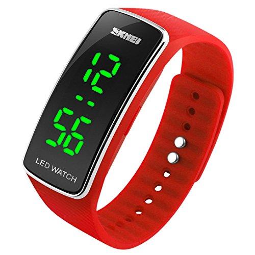 Panegy - Reloj Digital de Estilo Deportivo Silicona con LED para Niños-Color Rojo
