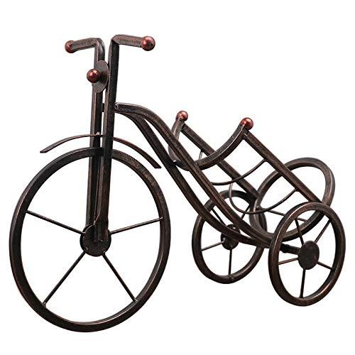 seite Vintage Dreirad Eisen Weinregal Ornamente Kreative Dreirad Weinregal Desktop Handwerk Wohnkultur Weinschrank Zubehör Geschenke ()