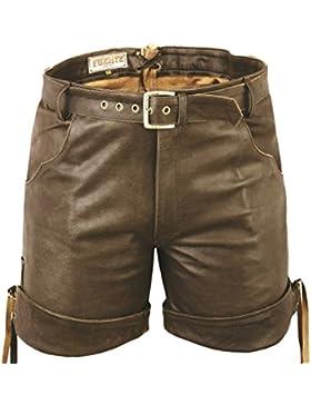 Kurze Lederhose mit Gürtel- Lederhose Herren kurz mit gürtel,Kurze Ledershorts Braun, Kurze Lederhose Herren Damen...