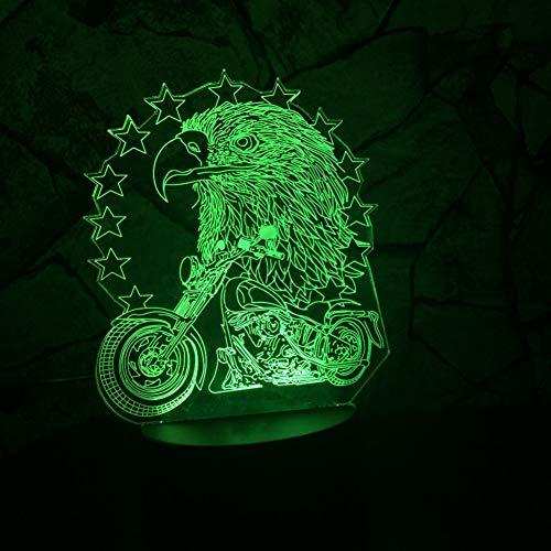 WZYMNYD 3D LED USB 7 Farbwechsel Visuelle Nachtlicht Adler Reiten Motorrad Dekoration Househould Kind Kinder Urlaub & Geburtstage Geschenke (Reiten-traktor Für Kinder)
