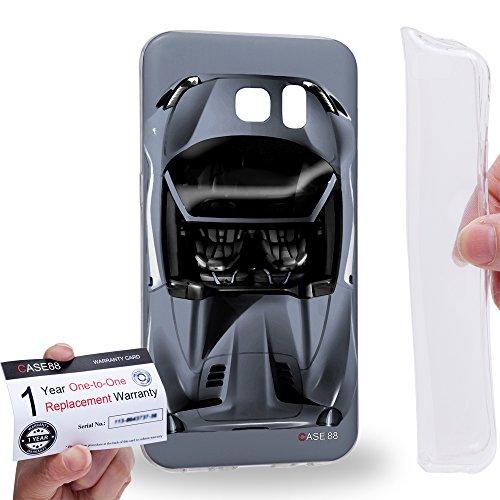 Case88 [Samsung Galaxy S7 Edge] Gel TPU Hülle / Schutzhülle & Garantiekarte - Art Design Sliver Sport Car Art1303