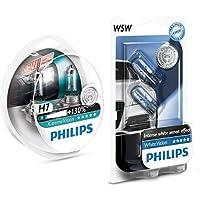 Philips 12972XV+S2 X-tremeVision Car Headlight Bulb, H7 12V, 55W Halogen, 2-Pack + Philips 12961NBVB2 WhiteVision Halogen Headlamp Bulb W5W, 12 V, Set of 2
