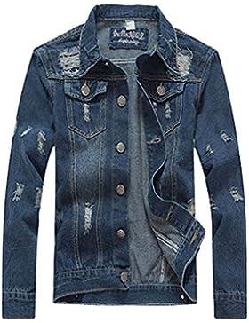 Haroty Hombres Chaqueta de Vaquero Clásico Otoño Primavera Color Puro Manga Larga Talla Grande Denim Jacket Jean...