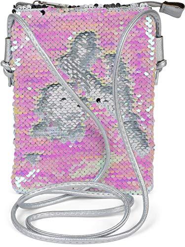 styleBREAKER Mini Bag Umhängetasche mit Wende-Pailletten, Schultertasche, Handtasche, Tasche, Damen 02012240, Farbe:Silber/Perlmutt -
