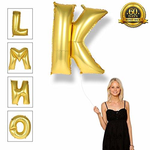 40 Zoll Gold Alphabet A-Z Ballon Nummer 0-9 Luftballons Geburtstagsfeier Dekorationen Helium Folie Mylar Buchstaben Ballon (K)