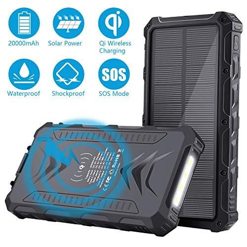 Sendowtek Power Bank 20000mAh, Solare Caricabatteria Portatile, Batteria Esterna con USB/USB C/Qi Caricatore Wireles per Il Cellulare iPad Tablets e più, Powerbank con Torcia SOS per Viaggi Campeggio