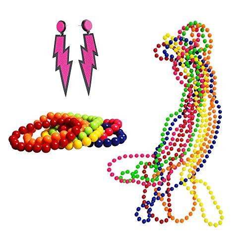 iLoveCos 80er Party Kleid Zubehör Set Kunststoff Neon Ohrringe Mehrfarbig Perlenkette Perlen Halsketten Fluoreszierende Perlen und Neon Perlen-Armbänder Verschiedene Farben (S5) (Kunststoff-zubehör)