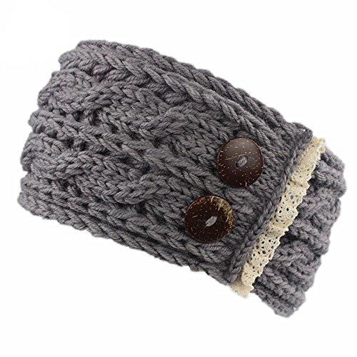 (Yvelands Damen Stirnband häkeln gestrickte geflochtene Strickwolle Hut Mütze Stirnbänder Haarband(Grau))