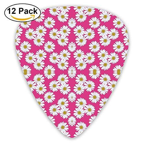 Daisy Magenta Pattern Fabric Guitar Picks For Electric Guitar 12 Pack Premium-magenta Rose