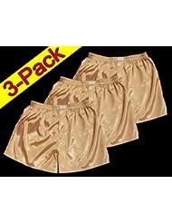 (M) 3 shorts pour or Hommes Boxer Shorts Sous-vêtements Vêtements de nuit en satin