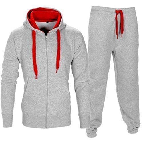 Tuta da uomo, felpa con cappuccio, in pile, elevato contrasto, tuta da uomo per corsa e sport - Grigio / rosso