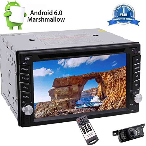 Doppel-DIN In-Dash Car DVD-Player Android6.0 Auto-Stereosystem 6.2 '' Touchscreen Autoradio Bluetooth In Deck GPS-Navigation-Steuerger?t Radio-Audioempf?nger Bluetooth WiFi 1080P Video mit Nachtsi (Dvd-player In Dash)