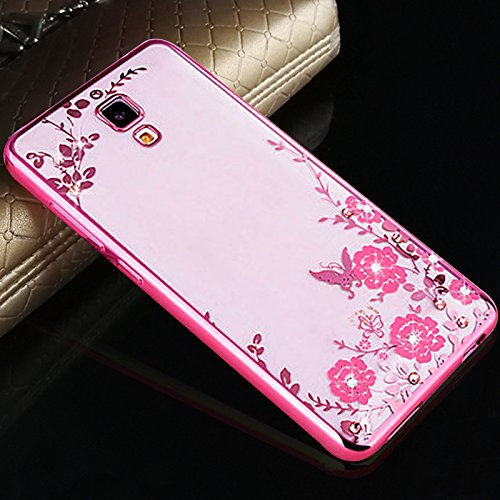 LOXXO Case for Xiaomi Redmi MI4- Shockproof Silicone Soft TPU Transparent Auora Flower Case with Sparkle for Xiomi MI4 Back Cover Rose Gold