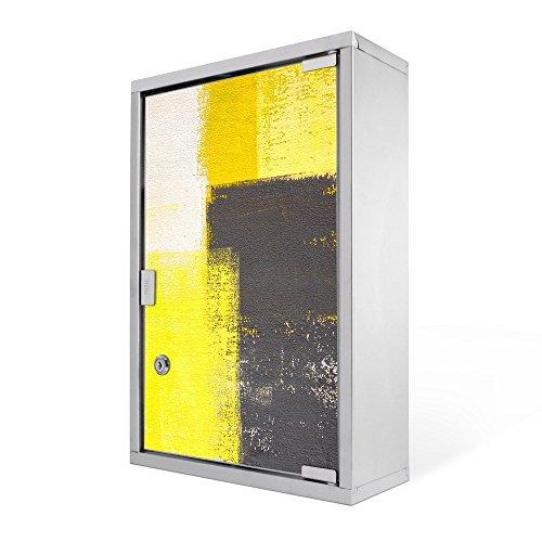 #Medizinschrank groß Edelstahl abschliessbar 30x45x12cm Arzneischrank Medikamentenschrank Hausapotheke Erste Hilfe Schrank Motiv Abstrakt Gelb#