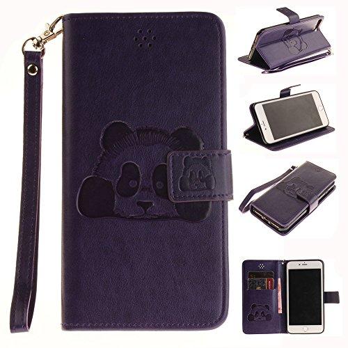 Ooboom® iPhone 5SE Hülle Prägen 3D Panda Muster Flip PU Leder Handy Tasche Case Cover Stand Magnetverschluss für iPhone 5SE - Kaffee Lila
