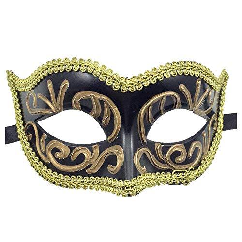 gemalte Kunstsammlung Kindermaske weibliche Erwachsene Ball Prinzessin Kostüm Ball Maske männlich (Color : Black) ()