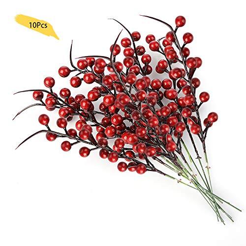 lulalula Künstliche Beeren Fake Mini Holly Berries Simulation Dekorative Früchte, Pflanzen Blumenstrauß Hochzeit Party Favor rot, 10Pcs, 26 cm Holly Berry