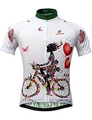 Qianliuk Mujeres Anti Sudor Secado rápido Manga Corta Ciclismo Jersey Primavera Verano Anti Pilling Transpirable Ciclismo Ropa Fresca Impresa Top Ropa de Bicicleta