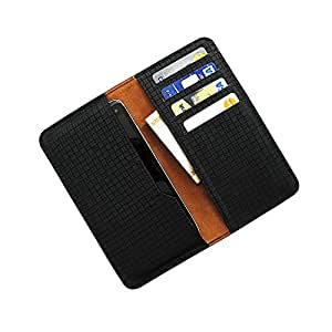 i-KitPit : PU Leather Wallet Flip Pouch Case Cover For Lava Iris 300 Style (BLACK)