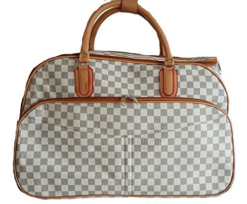 5944fd8c0a Gossip Girl - Designer Inspired Wheeled Trolley   Holdall Hand Luggage    Weekend Bag - Check