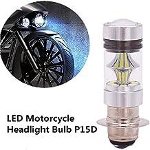 FEZZ 1500LM Bombilla LED de Faro Motocicletas Luz Delantera Hi Lo Beam, P15D H6M, 100W Blanco para Yamaha Suzuki Kawasaki
