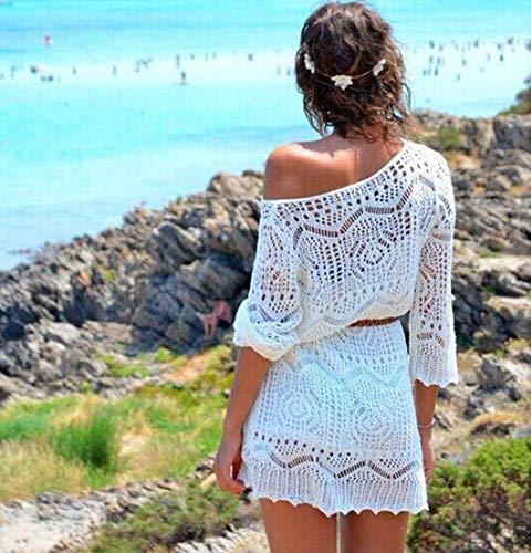 MENSDXA Kleiden Haken-Blumen-Hohlbluse-Strand-Strickkleid, XL, Weiß