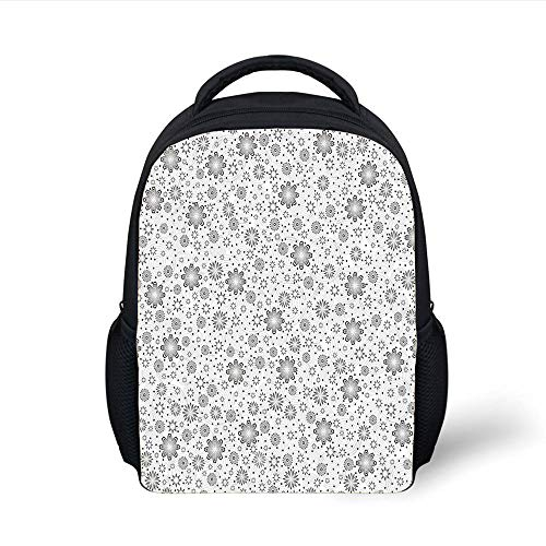 Kids School Backpack Grey Decor,Mix Florals with Rotary Round Rings and Dot Spots on The Backdrop Simplistic Blossom,Cloud Plain Bookbag Travel Daypack -