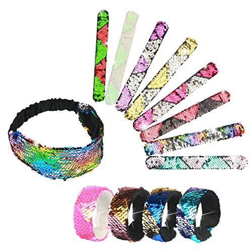 ZoomSky 12 Meerjungfrau Armbänder mit Haarband, Farbe Magic Reversible Pailletten Schnapparmband Glitzer Slap Armband für Kinder Mädchen Geurtstag Party Mitgebsel Mitbringsel Geschenk