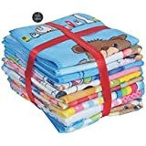 Style Urban Unisex Baby Soft Poly Cotton Cartoon Printed Face Towel (Multicolour) - Set of 12