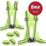 SGODDE Warnweste Set (2Pack), leicht verstellbare elastische Sicherheit Weste–Motorrad Jacke mit 4arm-Leg Tragegurt, Hohe Sichtbarkeit für für Running, Joggen, Radfahren