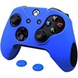 Pandaren® silicona grueso medio Fundas Protectores el mando Xbox One (azul) x 1 + thumb grip x 2