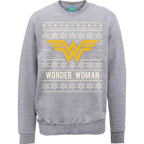 Ufficiale DC Wonder Woman Natale Knit, Felpa Heather Grey L