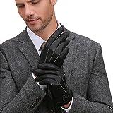 Gants luxueux GSG en cuir nappa espagnol pour homme, compatibles avec écrans tactiles, pour la conduite, les textos, la moto, en hiver, chauds -  Noir - Medium