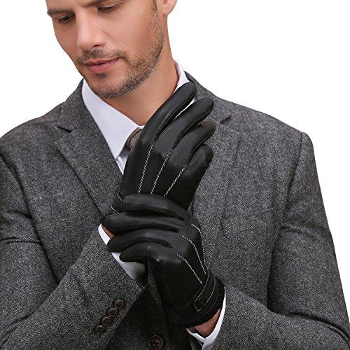 GSG Herren Luxus Touchscreen Spanien Nappa Leder Handschuhe Driving SMS Warm Winter Motorrad Handschuhe Geschenke Gr. Medium, Black Full TouchScreen (Leder Full-motorrad-handschuhe)