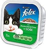 Felix Katzenfutter Kaninchen und Ente in Soße, 32er Pack (32 x 100 g) Schalen