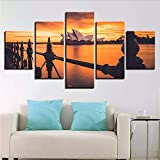 gwgdjk Canvas Painting Wall Art Living Room Decor 5 Pezzi Sydney Opera House Sunset Estuary Immagini di Paesaggi Marini Modulari HD Poster-30X40/60/80Cm,Without Frame